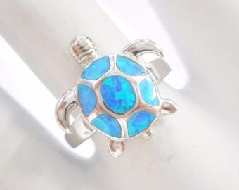 Opal Ring, Turtle Ring, Sterling Opal Ring, Opal Turtle Ring, Sterling Silver Blue Fire Opal Inlay Turtle Ring Sz 7 #834