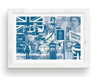 London Calling // Collage Poster - Blue