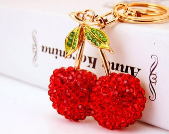 Cherry Cherries Fruit Keyring Diamante Rhinestone Charm Ladies Bling Handbag
