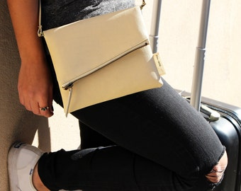 Schu-mee Clutch | Vegan Leather Clutch Bag | Modern Beige Clutch Purse