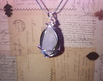 Beach Stone and beach glass pendant