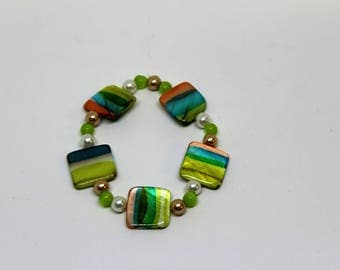 Spring Color Stretch Bracelet with Square Beads