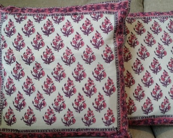 Pair of Floral Throw Pillow Cover , Indian Hand Block Printed Pillow Cover, Organic Cotton