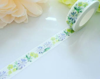 Yellow Blue Nature Washi Tape Flowers Floral Leaves Masking Decorative Tape