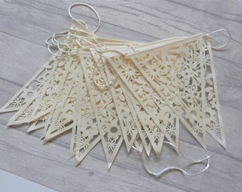 25ft  bunting ivory paper lace triangle pennant garland party wedding banner