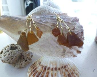 Brown sea glass trio dangle earrings in gold wire