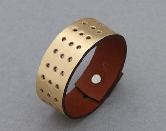 Leather Bracelets Hole Punched Metallic Gold Cuff Men Women