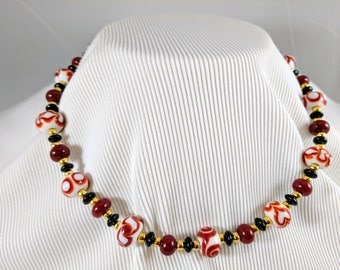 Variations in Red Lampwork Beaded Necklace