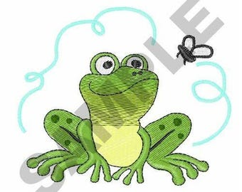 Frog And Fly - Machine Embroidery Design