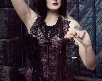 Mistress of Midnight- Gothic corset overbust and collar set