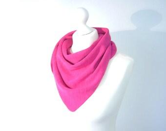 Shawl, scarf pink wool silk viscose mix fine knit
