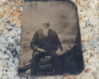 Older Gentleman With Long White Beard Antique Tintype Photograph