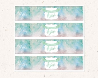Watercolor Water bottle Labels, personalized bottle labels,  Mint and Pink 8oz bottles