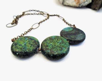 Statement necklace, dark green stone, chunky turquoise gemstone with antique bronze, 8th anniversary gift for her, bold & artistic jewelry