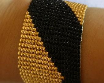 Elegant Black&Gold Cuff Toho Seed Beads Bracelet