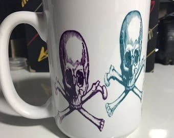 Skull and Crossbones Ceramic 15 oz Dishwasher safe Coffee Mug Made to Order in any desired quantity Multicolor or Single color