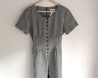 Vintage Black and White 90's Gingham Dress | Size 5 | Women's Vintage Clothing