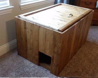 Discreet Cat House | Hidden Litter Box for Food & Water | Cat Box | Kitty Furniture | Cat Litter Box Furniture