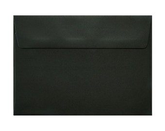 50 Pack Solid Black Envelopes Size 5 1/4 x 7 1/4 inches. (13.3 x 18.4 cm.)
