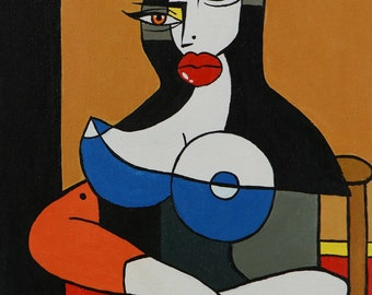 The Whole Truth | Original Cubist Oil Painting on Canvas 16inX20in