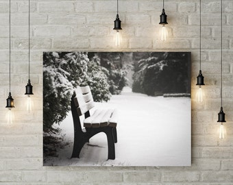 winter, bench in the snow, Photo, Photoprint, Art, Printart - Poster, Acrylic, PVC foamboard, canvas print