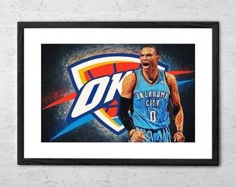 Russell Westbrook - Illustration - Oklahoma City Thunder - Okc Thunder - Basketball Gift - Okc - Basketball Wall Art - Basketball Poster