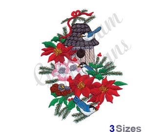 Christmas Birdhouse - Machine Embroidery Design