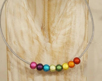 Necklace with 3D beads in chakra colors