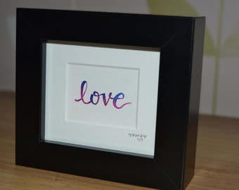 Love Hand Lettered Watercolour Frame Pink Blue Purple