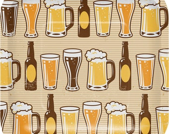 Cheers and Beers Party Plates/ Beer Party Plates/ Beer Theme Plates/ Beer Party Supplies