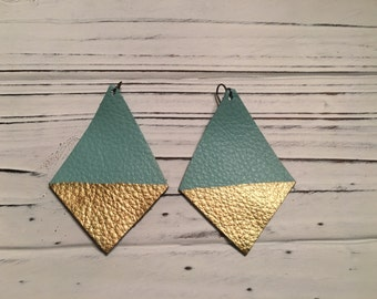 Turquoise & Gold Dipped Diamond Shaped Leather Earrings