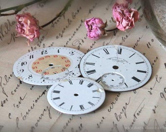 Wonderful vintage enamelled watch faces in three different sizes brocante decoration shabby chic home decor