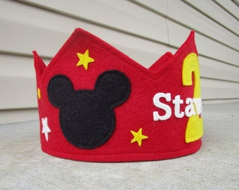 Wool Felt Crown Mickey, Birthday Crown, Boy Crown, First Birthday, Personalized, Velcro Closure, Photo Prop, Smash Cake