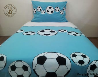 Football Bedding Set. Hand Painted. 1 Duvet Cover and 1 Pillow Cases
