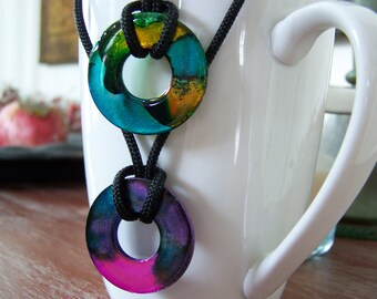 Handmade Tie Dye Washer Necklace