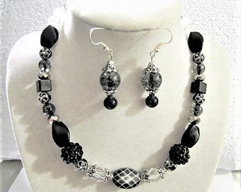 Black and Silver Jewelry Set of Earrings and Short Necklace with Black Chain, Heart Shaped Toggle Clasp, Beaded Jewelry