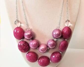 Stylish Pink and Purple Beaded Necklace, Women's Fashion Statement Jewelry, Chunky Modern Multi Strand Necklace