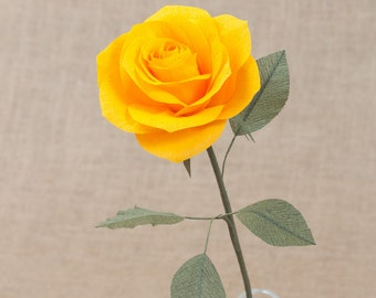 Royal Yellow Paper Rose Single Stem / Paper Flowers- 1st Anniversary- Paper Flower- Paper Decor- Crepe Paper Flowers- Wedding- Home Decor