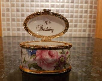 Fenton Fine Bone China Staffordshire England 70TH Birthday Trinket Box
