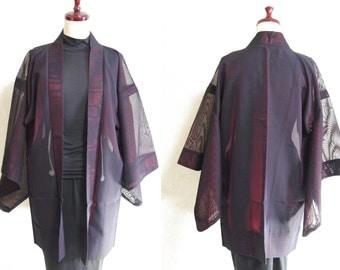 Japanese.old. kimono.free shipping.haori.coat.mesh fabric.Black.red.