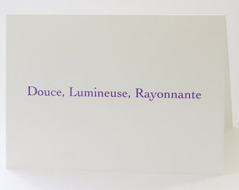 Douce, Lumineuse, Rayonnante card