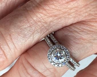 Engagement Ring and Bridal Set 14KW, 1CTW, Round Halo Size: 5