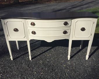SOLD!!! Upcycled Bow-Front Federal Style Mahogany Sideboard