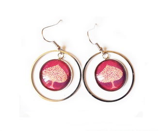 Tree of life gold and Garnet Earrings