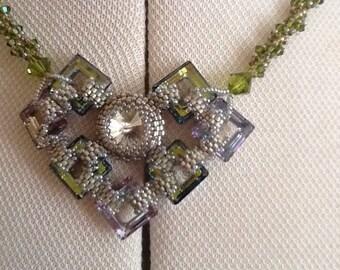 Swarvoski cosmic square necklace