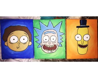 Rick and Morty Canvases (Set of 3)
