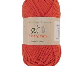 Lacery Yarn 100g - 2 Skeins - 100% Cotton - Burnt Orange - Color 407