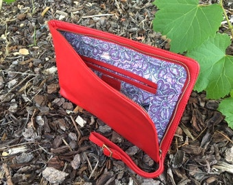 Large Leather Red Clutch