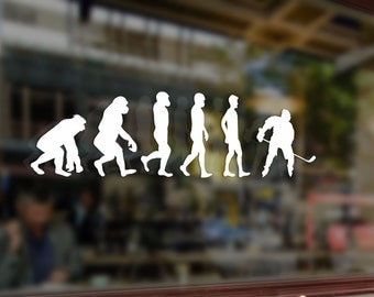 Ice Hockey Evolution Gamer Player Vinyl Stickers Funny Decals Bumper Car Auto Computer Laptop Wall Window Glass Skateboard Snowboard Helmet