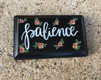 Handlettered Sign // Small // Wood // Single Word Sign // Floral // Rectangular